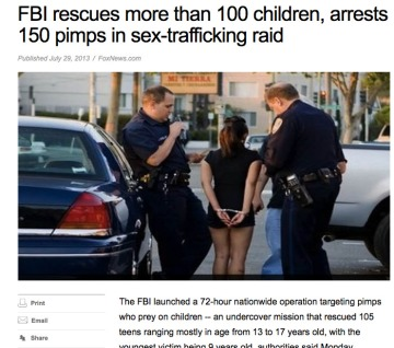 FBI rescues more than 100 children, arrests 150 pimps in sex-trafficking raid | Fox News 2013-07-31 13-54-28