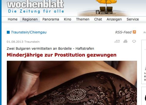 """Für das wochenblatt.de scheint sexuelle Ausbeutung """"sexy"""" zu sein und wird mit entsprechendem Bild illustriert."""