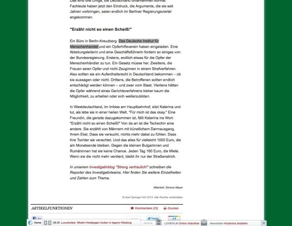"""Peinlicher Fehler der Welt am Sonntag: """"Deutsches institut für Menschenrechte"""" als """"Deutsches Institut für Menschenhandel"""" beschrieben."""